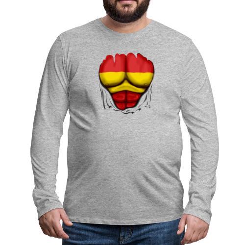España Flag Ripped Muscles six pack chest t-shirt - Men's Premium Longsleeve Shirt