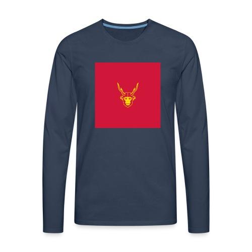 scimmiacervo sfondo rosso - Maglietta Premium a manica lunga da uomo