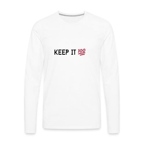 KEEP IT 100 ZWART png - Mannen Premium shirt met lange mouwen
