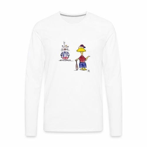 Cartoon Baseball - Männer Premium Langarmshirt