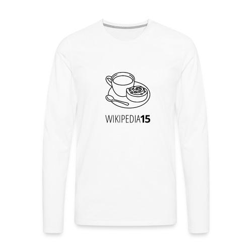 Fika, figursydd, vit - Långärmad premium-T-shirt herr