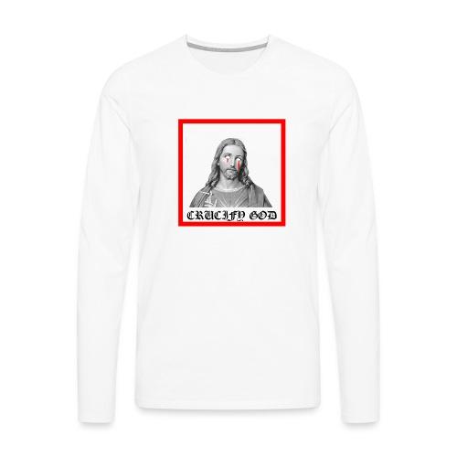 Crucify God | Sad Jesus - Miesten premium pitkähihainen t-paita