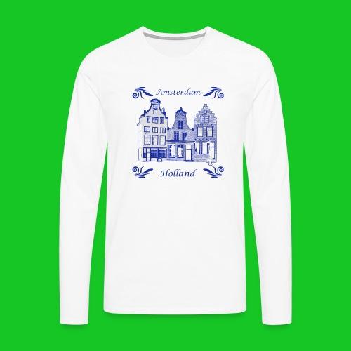 Holland Grachtenpanden Delfts Blauw - Mannen Premium shirt met lange mouwen