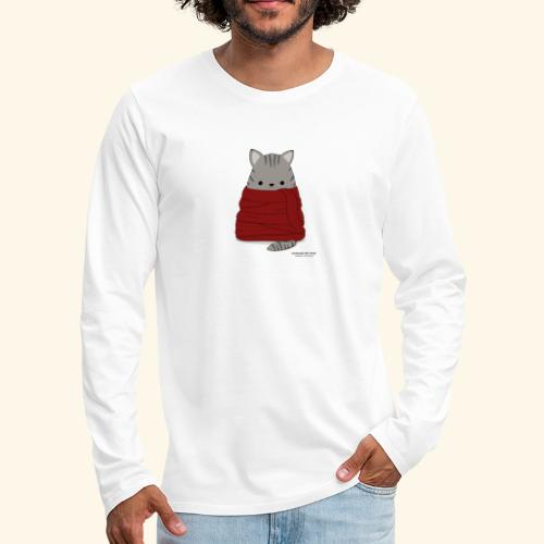 Katze im Winter mit Schal - Männer Premium Langarmshirt