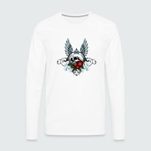 Skull Rose & Wing - Maglietta Premium a manica lunga da uomo