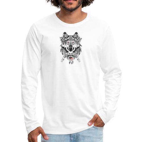 WOLF-PEDAELA - Camiseta de manga larga premium hombre