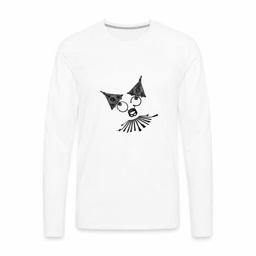 Bijoux d' argent en forme d'une tête de chat - T-shirt manches longues Premium Homme