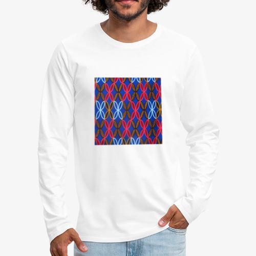 Design motifs bleu rose orange marron - T-shirt manches longues Premium Homme