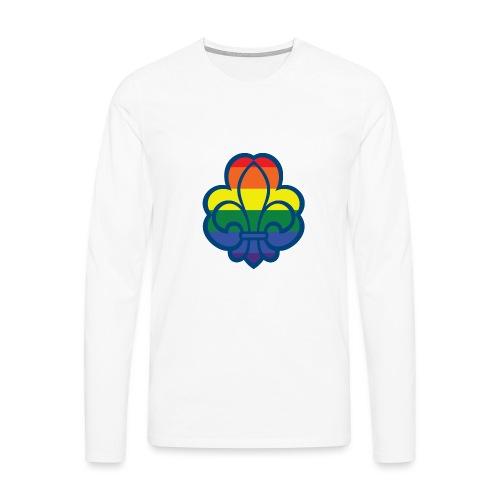 Regnbuespejder hvide t-shirts - Herre premium T-shirt med lange ærmer