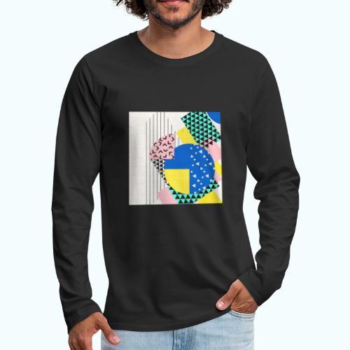 Retro Vintage Shapes Abstract - Men's Premium Longsleeve Shirt