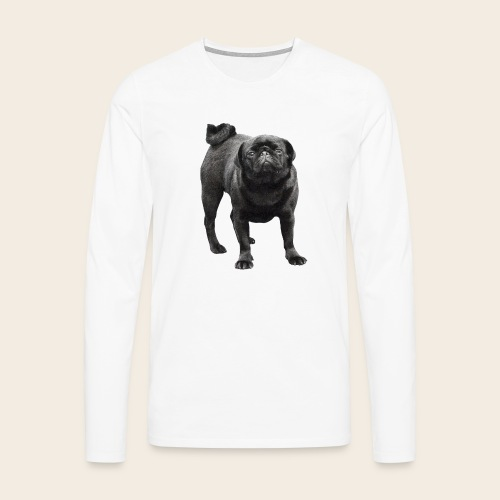 schwarzer Mops - Männer Premium Langarmshirt
