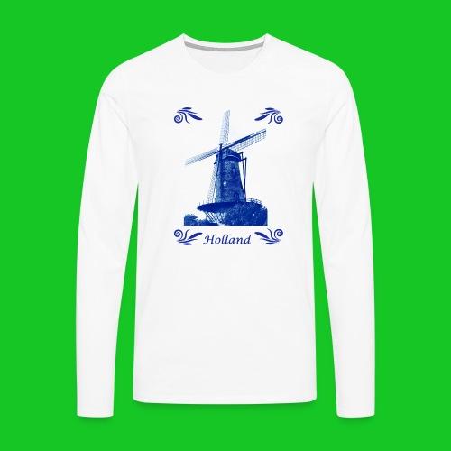 Delfts Blauw Molen - Mannen Premium shirt met lange mouwen