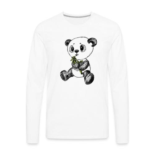 Panda bjørn farvet scribblesirii - Herre premium T-shirt med lange ærmer