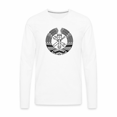 DDR Tuning Coat of Arms 1c (+ Your Text) - Men's Premium Longsleeve Shirt