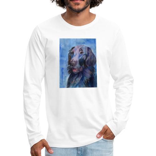 flatcoated retriever - watercolor - Herre premium T-shirt med lange ærmer