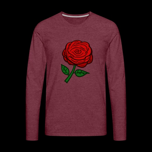 Rote Rose - Männer Premium Langarmshirt