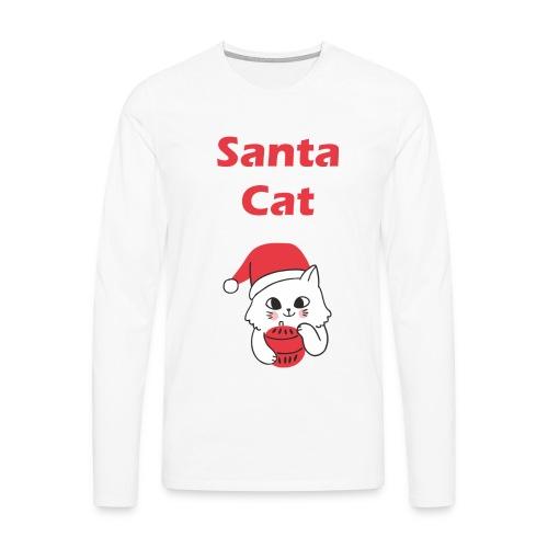Weihnachts T-Shirt Katzen | Santa Cat | Geschenk - Männer Premium Langarmshirt