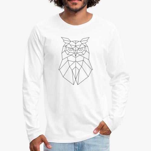 Eule Geometrisch schwarz - Männer Premium Langarmshirt