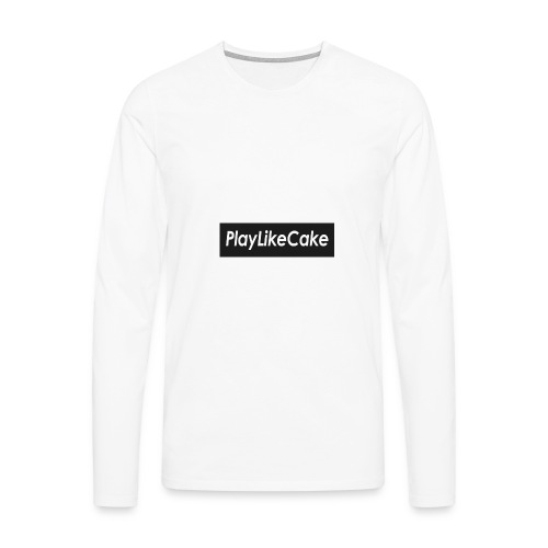 PlayLikeCake black box logo - Premium langermet T-skjorte for menn