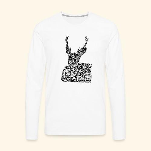 deer black and white - Miesten premium pitkähihainen t-paita