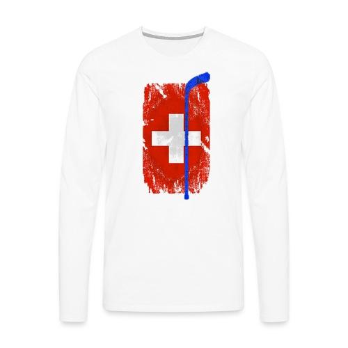 Schweizer Flagge Hockey - Männer Premium Langarmshirt