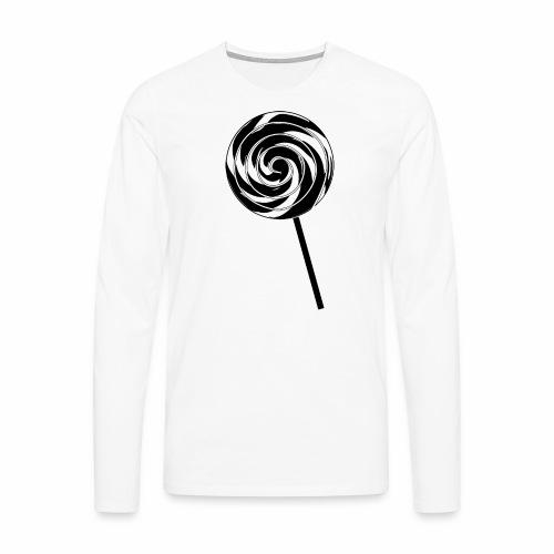 Retro Lutscher - Lollipop Design - Schwarz Weiß - Männer Premium Langarmshirt