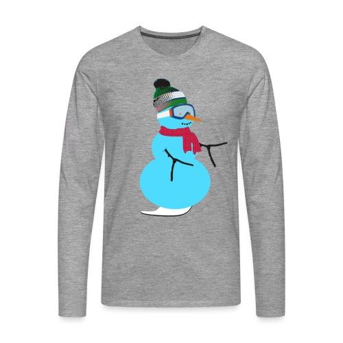Snowboarding snowman - Miesten premium pitkähihainen t-paita