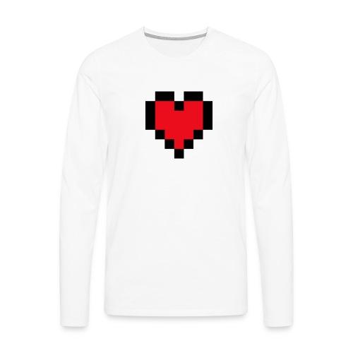 Pixel Heart - Mannen Premium shirt met lange mouwen