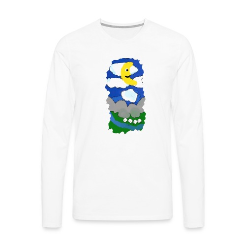smiling moon and funny sheep - Men's Premium Longsleeve Shirt