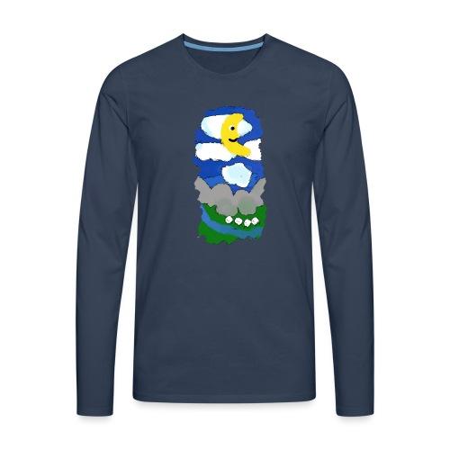 smiling moon and funny sheep - Men's Premium Longsleeve Shirt