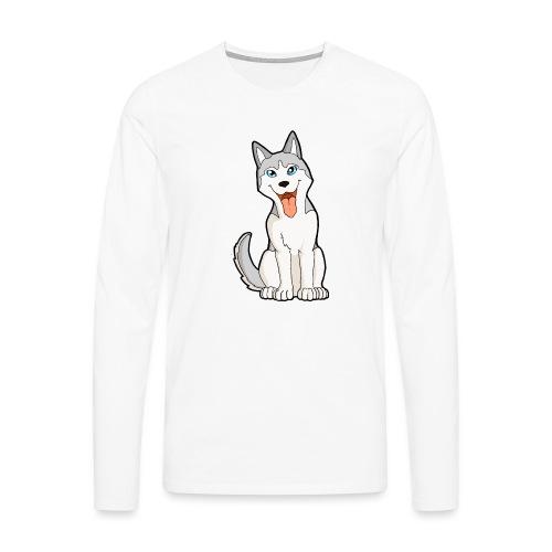 Husky grigio occhi azzurri - Maglietta Premium a manica lunga da uomo