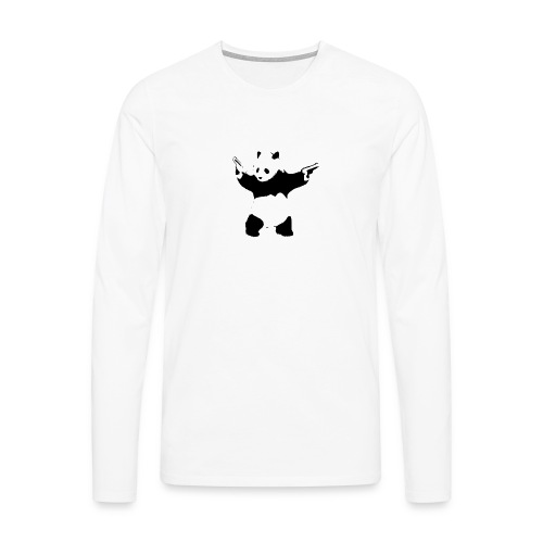 oso panda pistolas - Camiseta de manga larga premium hombre