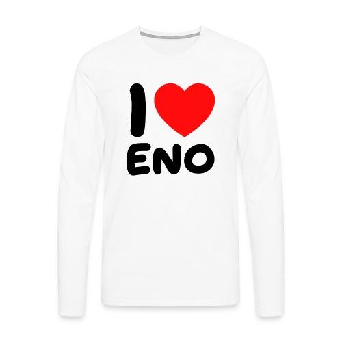 I love Eno / musta - Miesten premium pitkähihainen t-paita