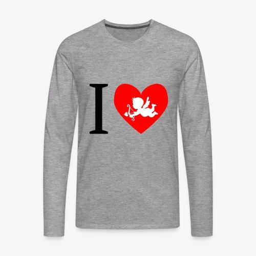 cupidon, rouge blanc noir, I love - T-shirt manches longues Premium Homme
