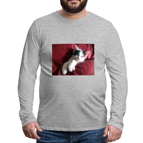 Katze in rot - Männer Premium Langarmshirt