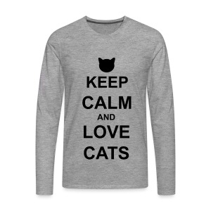 Keep Calm and Love Cats - Black - Men's Premium Longsleeve Shirt
