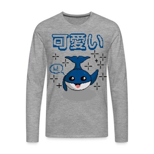 pixel ballena kawaii - bluecontest - Camiseta de manga larga premium hombre