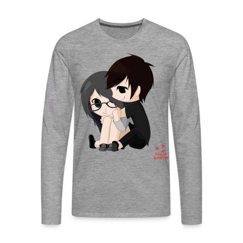 otaku anime pareja chibi kawaii - Camiseta de manga larga premium hombre