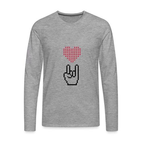 Pixel Love Rock - Männer Premium Langarmshirt