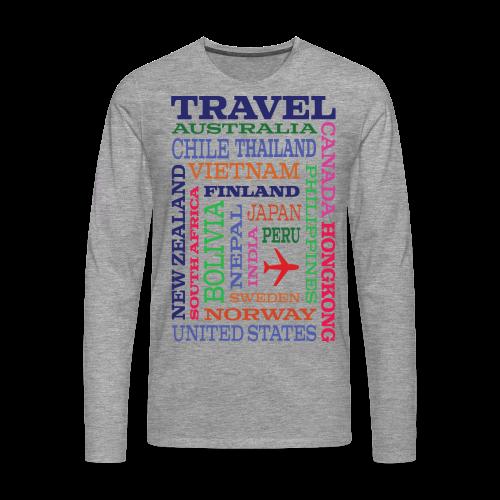 Travel Places design - Miesten premium pitkähihainen t-paita