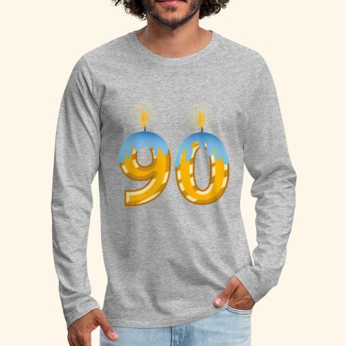90th Birthday party celebration lite candles - Men's Premium Longsleeve Shirt