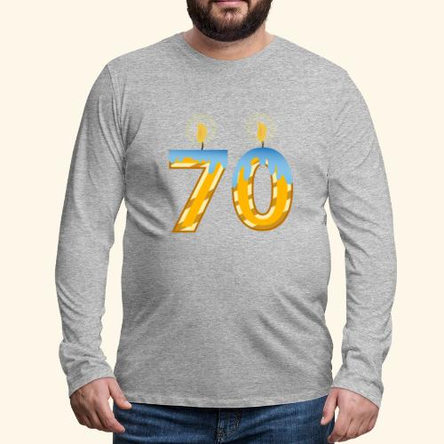 70th Birthday with Lite candles design - Men's Premium Longsleeve Shirt