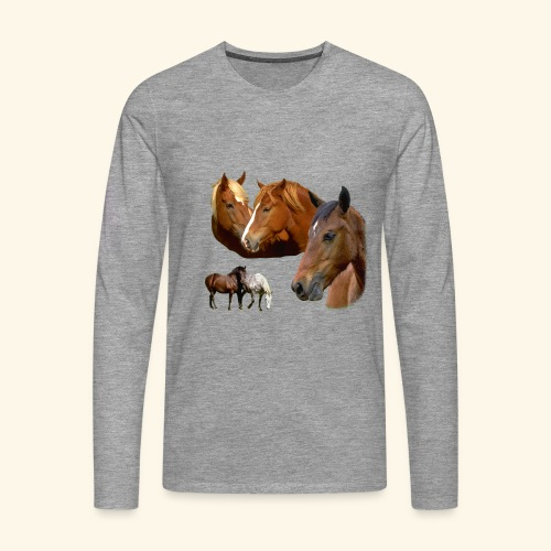 Wild Stallion & Mare Horse and Ponies Head - Men's Premium Longsleeve Shirt