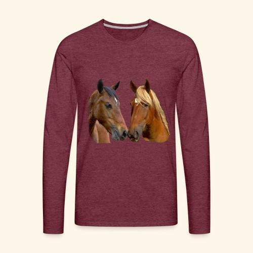 Kissing Horses Stallion and Mare head - Men's Premium Longsleeve Shirt