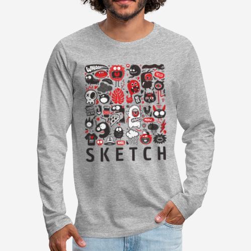 animals sketch design monsters - Männer Premium Langarmshirt