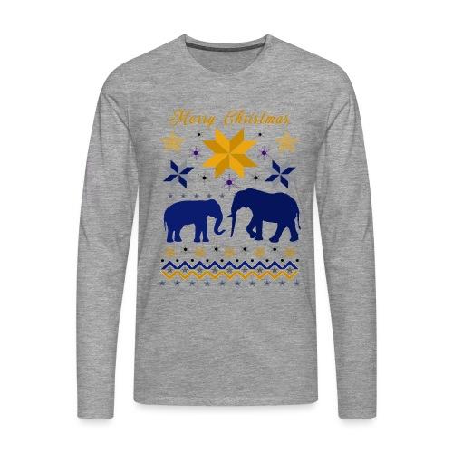 Merry Christmas I Elefanten - Männer Premium Langarmshirt