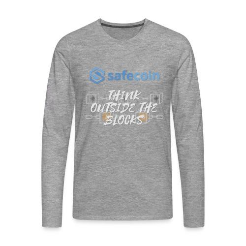 SafeCoin; Think Outside the Blocks (blue + white) - Men's Premium Longsleeve Shirt
