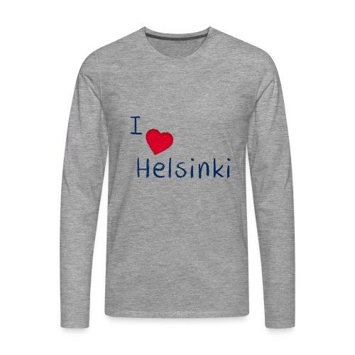 I Love Helsinki - Miesten premium pitkähihainen t-paita