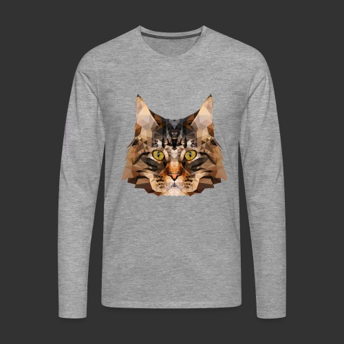 Chat LowPoly - T-shirt manches longues Premium Homme