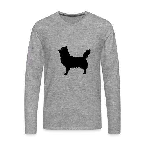 Chihuahua pitkakarva musta - Miesten premium pitkähihainen t-paita